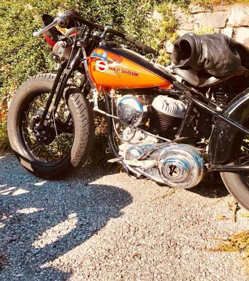 orange harley davidson racing bike built year 1939
