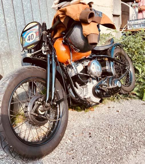 orange harley davidson racing bike built year 1949