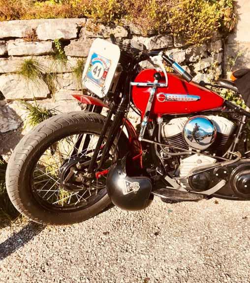 red harley davidson racing bike built year 1947