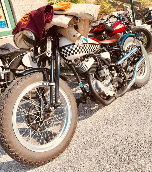 white harley davidson racing bike built year 1947